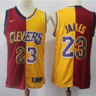 Men's Lakers #23 LeBron James Jersey Red-Yellow Split spliced Edition New