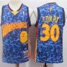 Men's BAPE Joint Warriors 30# Stephen Curry Basketball Jersey Blue 2019