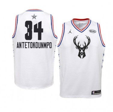 sports shoes 94a48 70d15 Youth Bucks 2019 All Star Game #34 White Giannis ...
