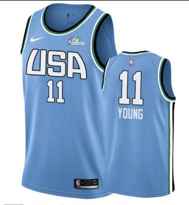 finest selection ae5eb b8cd8 Men's 2019 Rising Star Team World #11 Trae Young Blue Jersey