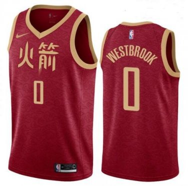 official photos 0dff4 ad392 Men's Russell Westbrook #0 Houston Rockets City Edition ...
