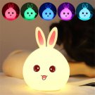 LED Rabbit Night Light Bedside Lamp Multicolor Silicone Touch Sensor Tap Control