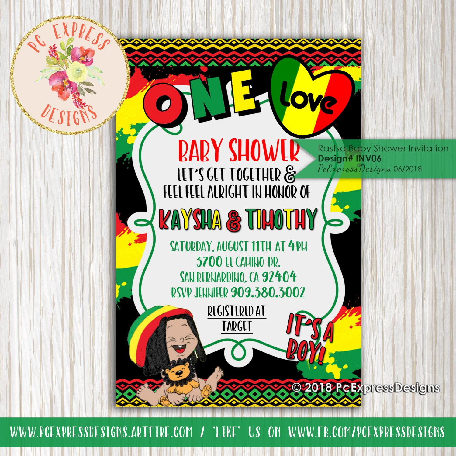 Rasta Baby Shower Invitation - INV06