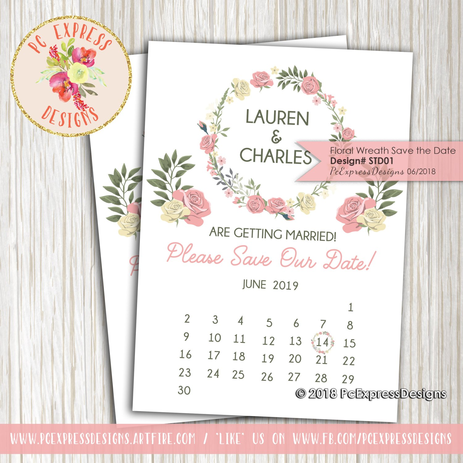 Floral Wreath Save the Date - STD01