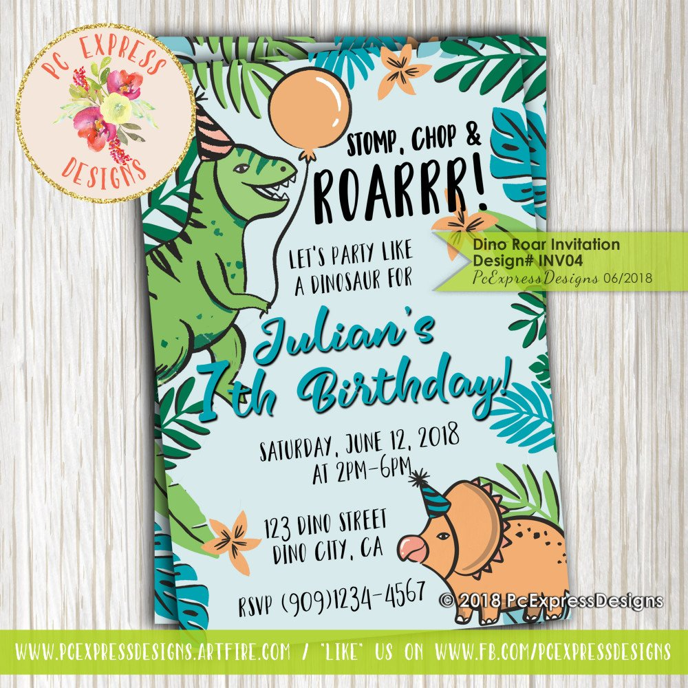 Dinosaur Birthday Party Invitation - INV04
