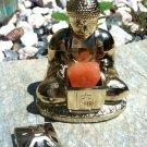 Vintage Brass Buddha Incense Burner Fitted Lid Buddhism Cone Holder Made JAPAN