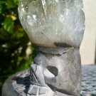 "Clear Quartz Crystal Carved Skull Head With Crystal Point Tips Mohawk Hair 2.75"""