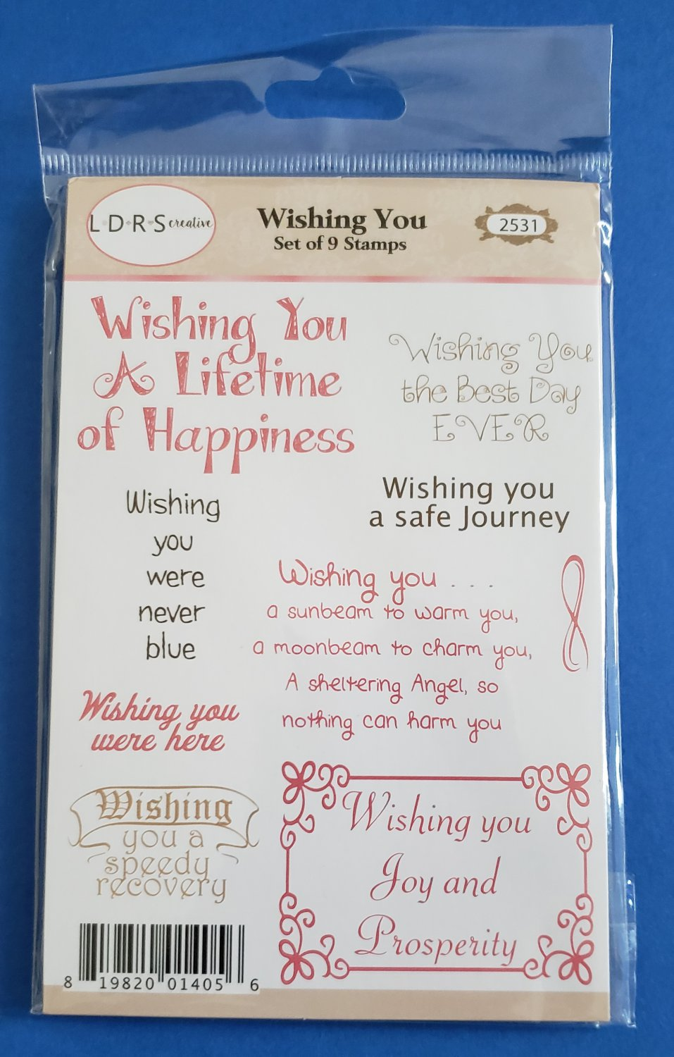 LDRS Creative Wishing You Set of 9 Unmounted Rubber Stamps