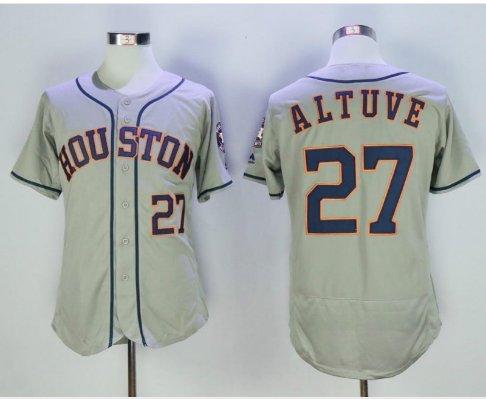 new arrival 9b09f b9905 Men's Strong Patch Houston Astros Jerseys 27 Jose Altuve jersey Grey