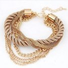 Free Shipping Fashion Multilayer Charm Bracelet Exaggerated Gold Chain