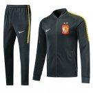 Guangzhou Black jackets and pants 2019 Men football kits replica training
