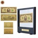 WR 24k Colorful Gold Banknote US 2 Dollar Gold Foil Note Money Art Ornament Qual