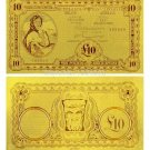 Gold Foil Banknote Ireland 10 Pounds Word Currency Gold Banknote For Home Decora