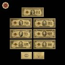 7pcs/lot Colour Gold Plated Banknote America 1928 Edition Gold Bills Banknotes F