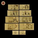 Germany Gold Banknote Set Pure Gold Plated 5.10.20.50.100.200.500 1000 German Ma