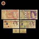 Full Set of UK Colorful UNC Commemorative Gold Banknote  5.10.20.50 British Poun
