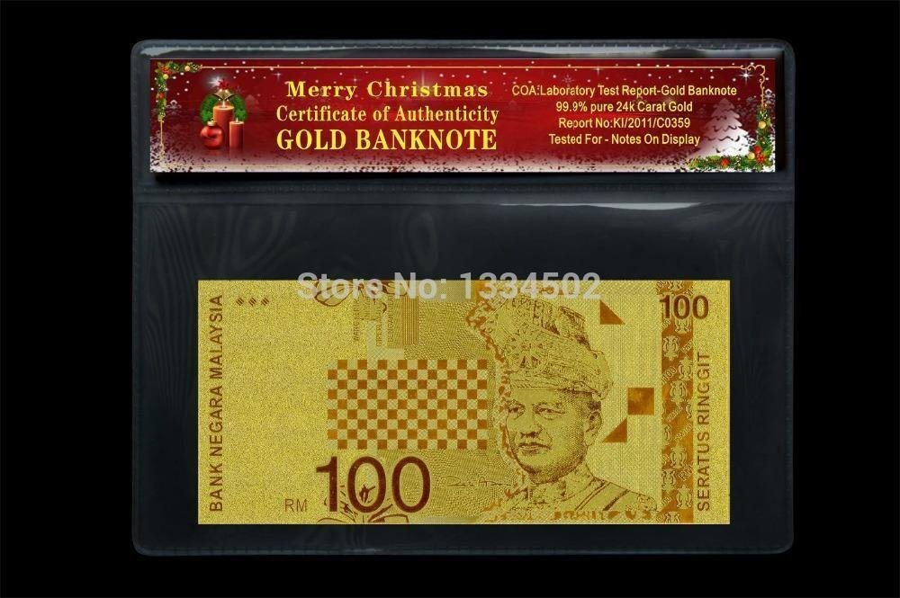 Normal Gold Malaysia 100 RM Banknote Pure Normal Gold For christmas decoration