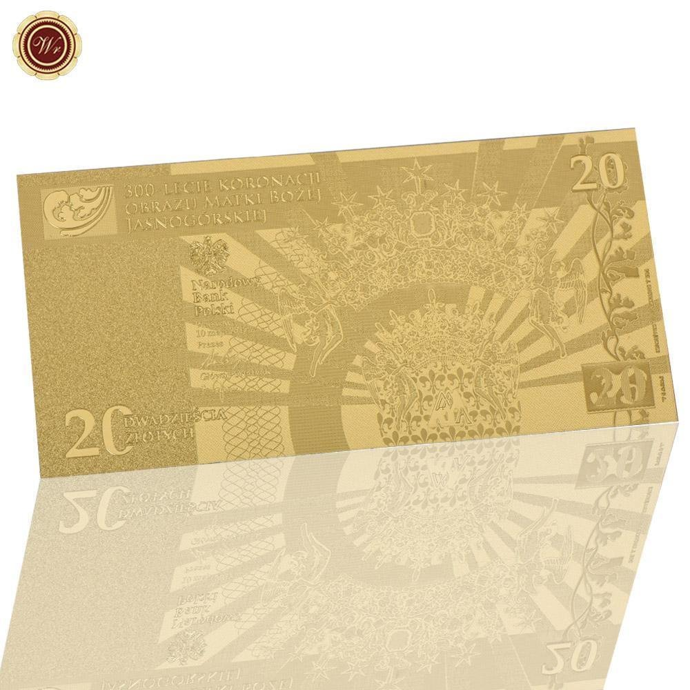 WR Wholesale 20 Zloty Gold Plated Banknote Poland Currency Golden Banknote Copy