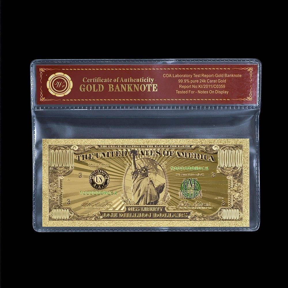 US Gold Banknote Color $1 Million Dollar Currency Bill Banknote With COA