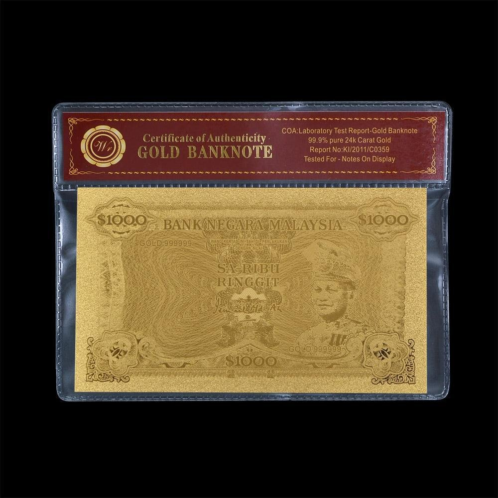 Gold Paper Money Banknote Malaysia 1000 Ringgit  Plated Gold 99999 Money Bill