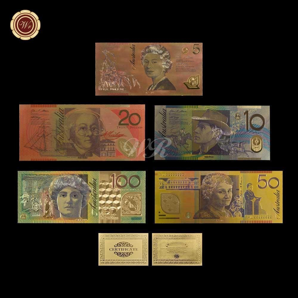 New Products Colorful Australia Gold Banknote New AUD 5 10 20 50 100 Banknote Se