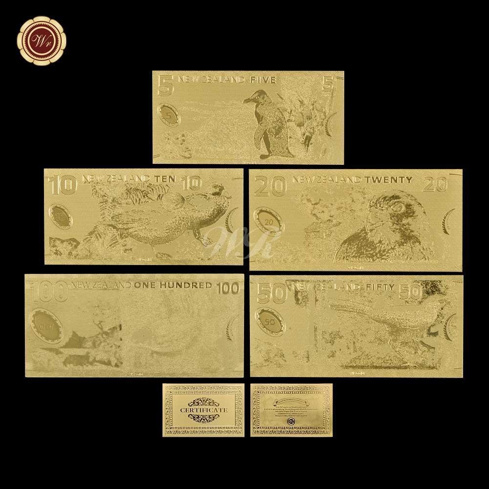 Full Set Of New Zeanland Gold Banknote With 5 styles of 5,10 ,20 ,50 ,100 Dollar