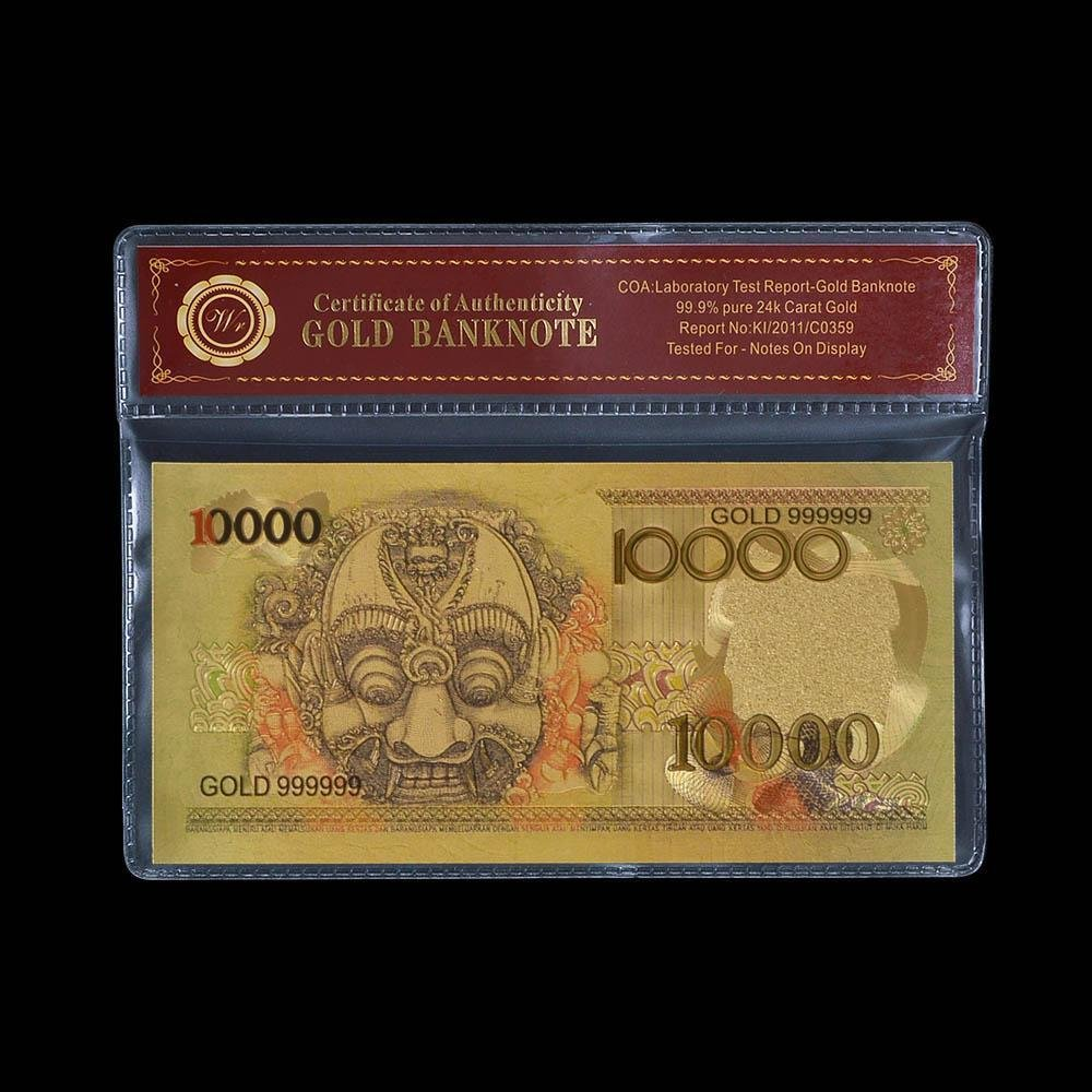 Newest Style Indonesia Colored Gold Banknote 10000 Rupiah Gold Foil Banknote wit
