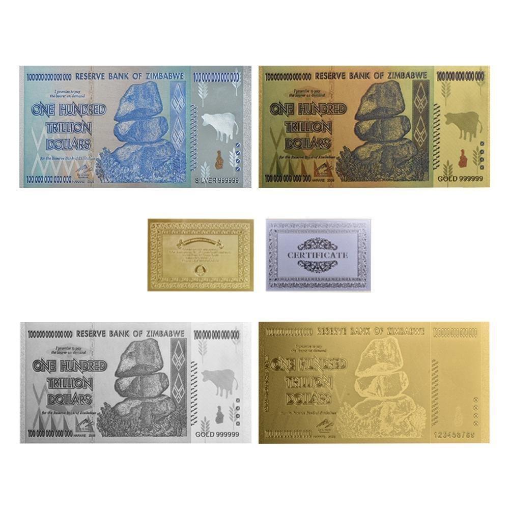 WR Original 4pcs Gold Banknotes 100 Trillion Dollars Zimbabwe Silver Fake Money