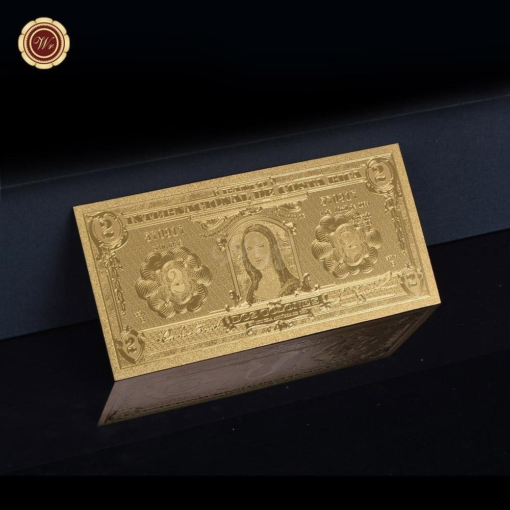 Gold Foil Plated Costa Rica 5 Gold Banknote For Home And Office Decoration