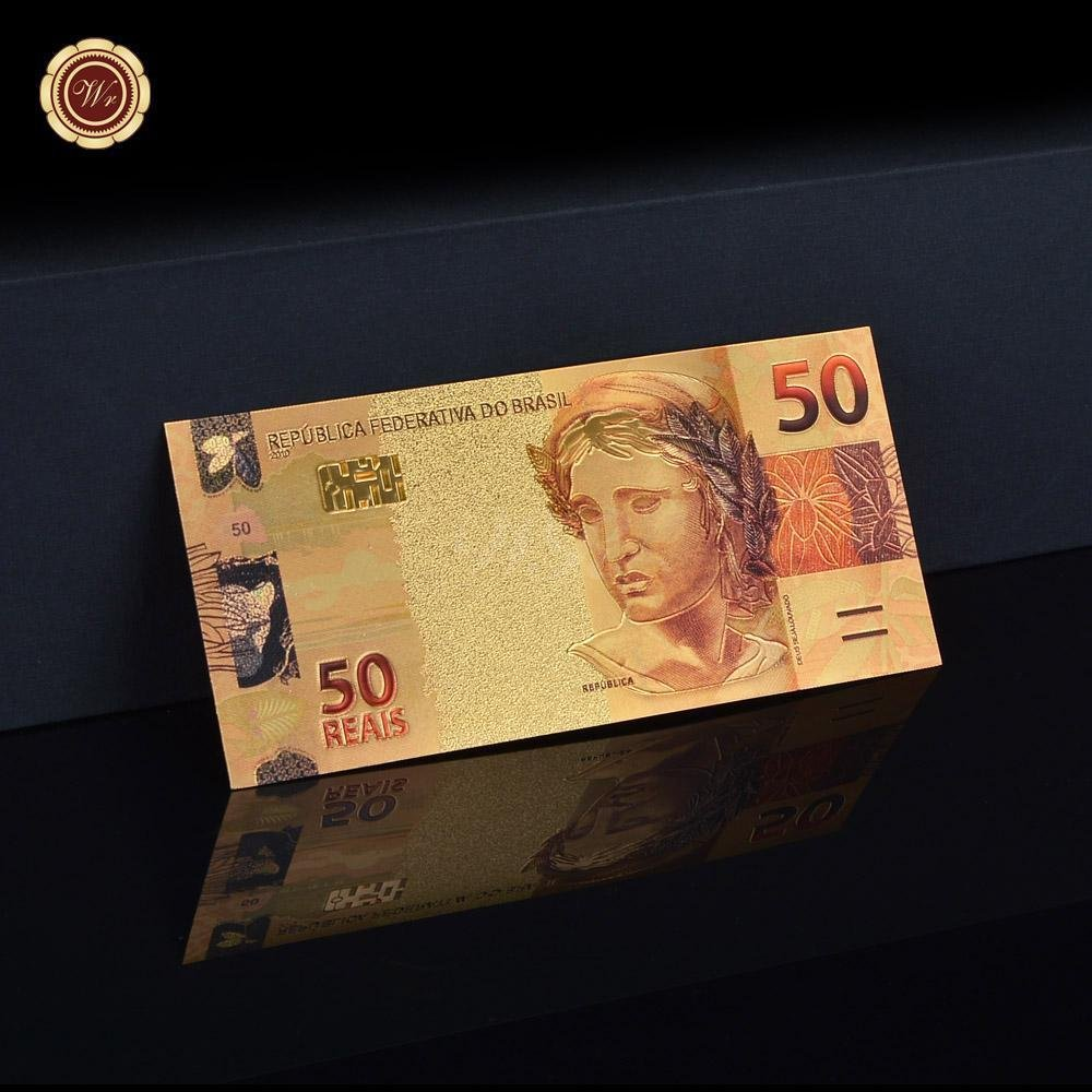 Colorful Gold Banknote Brazil 50 Real Paper Fake Money Plated Gold Foil Banknote