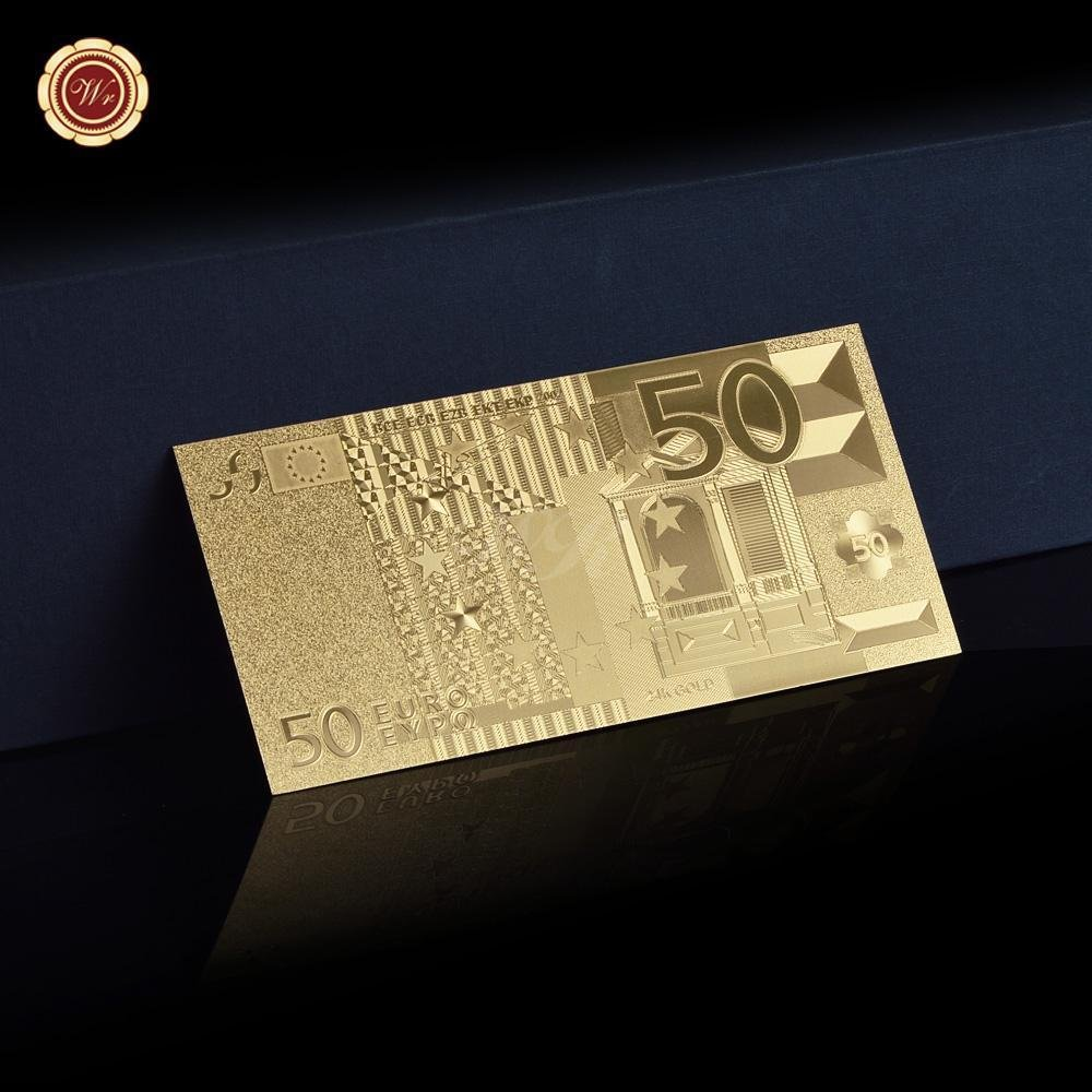 50 Euro Gold Banknote Gold Metal Plated Bill Gold Foil Collector Rare Collection