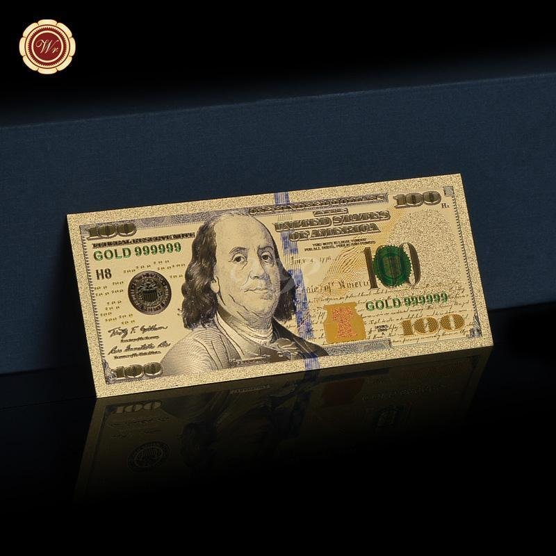 Newest Style US100 Dollar Colorful 999 Gold Foil Fake Banknote Antique Decoratio