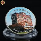 WR Biblioteca Central 999.9 Pure Silver Plated Coin Wonders of Mexico Metal Home