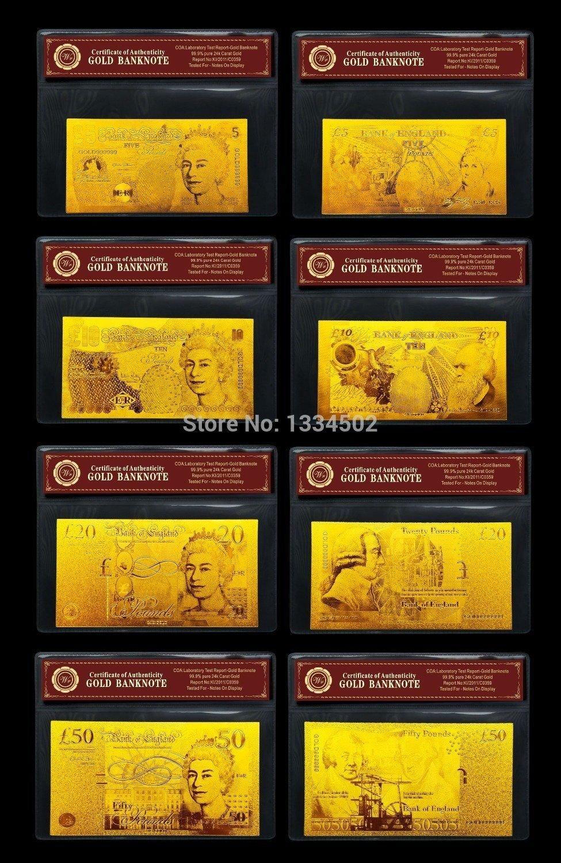 UK English Gold Banknote Set5.10.20. 50 Pound British  Bank Notes Gold w/COA