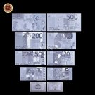 Silver Plated Gifts Euro 5.20.50.100.200.500.1000 Silver Banknote Paper Money De