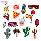 FENGRISE 15pcs Mixed Iron On Patches For Clothing Embroidered Cactus Patch Stick