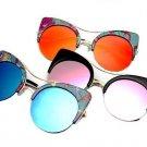Vintage Cat Eye Sunglasses Women  Brand Designer Mirror Retro Circle Sun Glasses