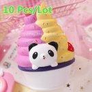 10Pcs/Lot 17cm Kawaii Cute Rainbow Panda Ice Cream Cup Cartoon Squishy Jumbo Sup