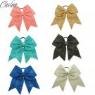 """8"""" High Quality Sequins Cheer Bow With Elastic Band For Girls Handmade Headwear"""