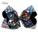 """8"""" Large Mermaid Hair Bows With Clips For Kids Girls Handmade Fish Scales Metall"""