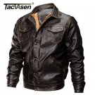 TACVASEN Thick Winter Men Tactical Leather Jacket Military Bomber Jacket Slim US