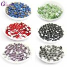 QIAO Many Color 6mm Glass Material 280pcs Round Rhinestone Crystal Sew On Stone