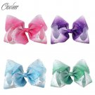 """4pcs/lot 7"""" Large Ombre Full Rhinestone Hair Bow With Clip Girl Dance HairPin Bo"""
