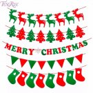 FENGRISE Merry Christmas Banner Reindeer Socks Xmas Tree Flags Happy New Year 20