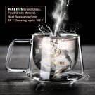 WALFOS  Double Glass Coffee Mug with Strap As Gift for Boy and Girl American Sty