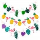 FANLUS  Felt Banner Flamingo Pineapple Party Decorations Monstera Palm Leaves Lu