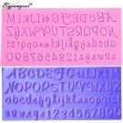 Byjunyeor M420 Fondant Cake Mold Capital Russian Handwriting Alphabets Script Le