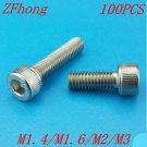 (100 pc/lot) M1.4,M1.6,M2,M2.5,M3 *L sus304 stainless steel hexagon socket head