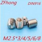 50PCS M2.5*3/4/5/6/8 DIN916 Stainless Steel Allen Head cup point Hex Socket Set
