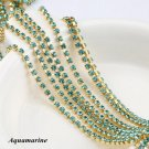 QIAO SS6(2mm) 10yards/lot Aquamarine Strass Clothing Design Accessories gold bas